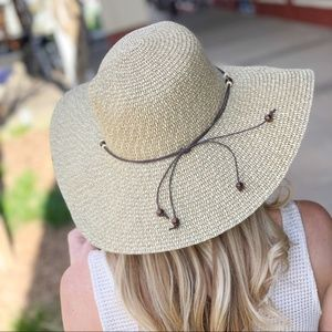 LAST ONE! Sand Toned Floppy Hat w/Wooden Bead Band